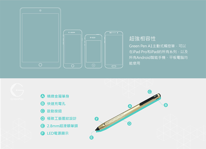 green pen, ipad pro專用主動式觸控筆